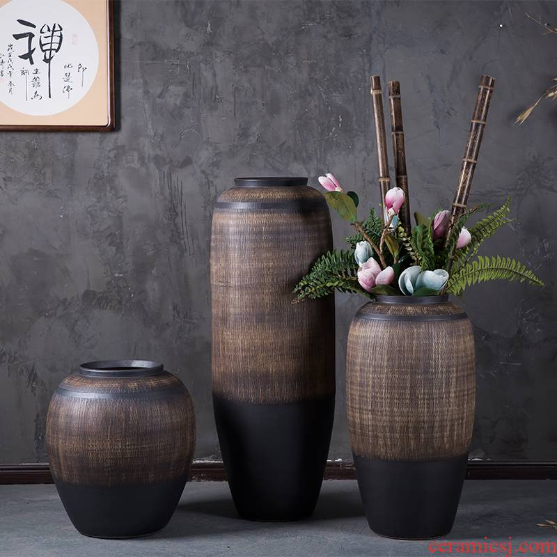 Jingdezhen ceramic vase of large sitting room porch garden villa, Chinese style restoring ancient ways is the dried flower POTS flowerpot