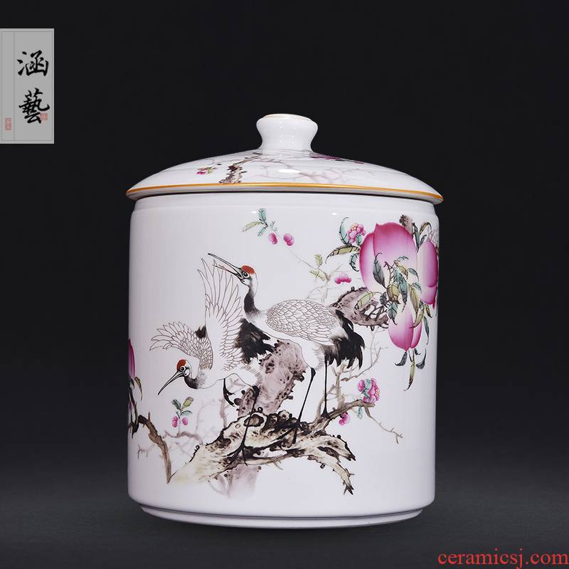 Jingdezhen ceramic famille rose straight canister rui shou peace caddy fixings Chinese style living room home decoration furnishing articles craft gift