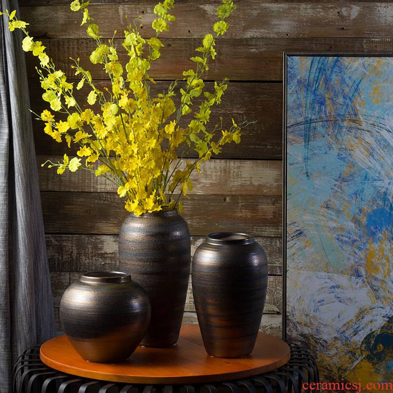 I and contracted ceramic flower vase continental creative living room retro dried flowers, Nordic home furnishing articles