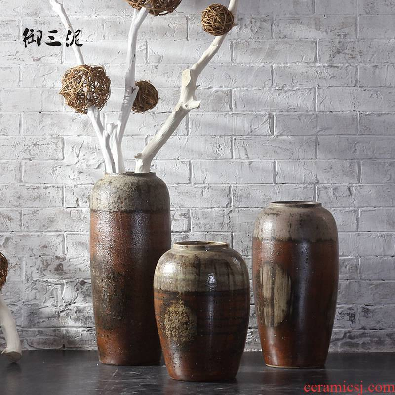 Royal three mud jingdezhen ceramic vase landing nostalgic firewood flower implement industrial wind restoring ancient ways of Chinese style decoration furnishing articles