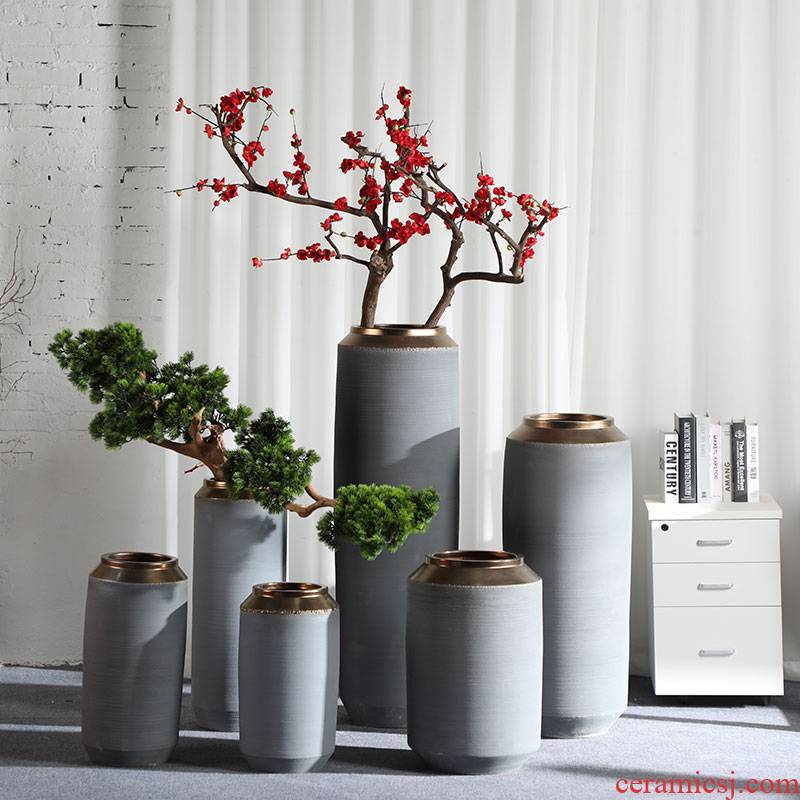 Large vases, jingdezhen ceramic light villa key-2 luxury cement ash flower arranging I and contracted furnishing articles