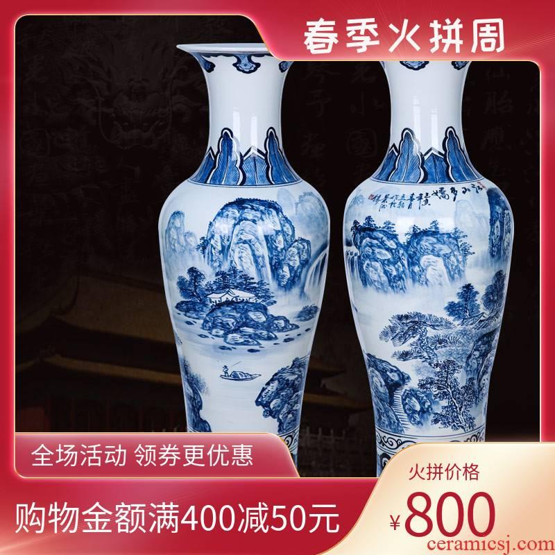 Jingdezhen ceramics hand - made archaize sitting room hotel landscape ground large vase home furnishing articles housewarming gift