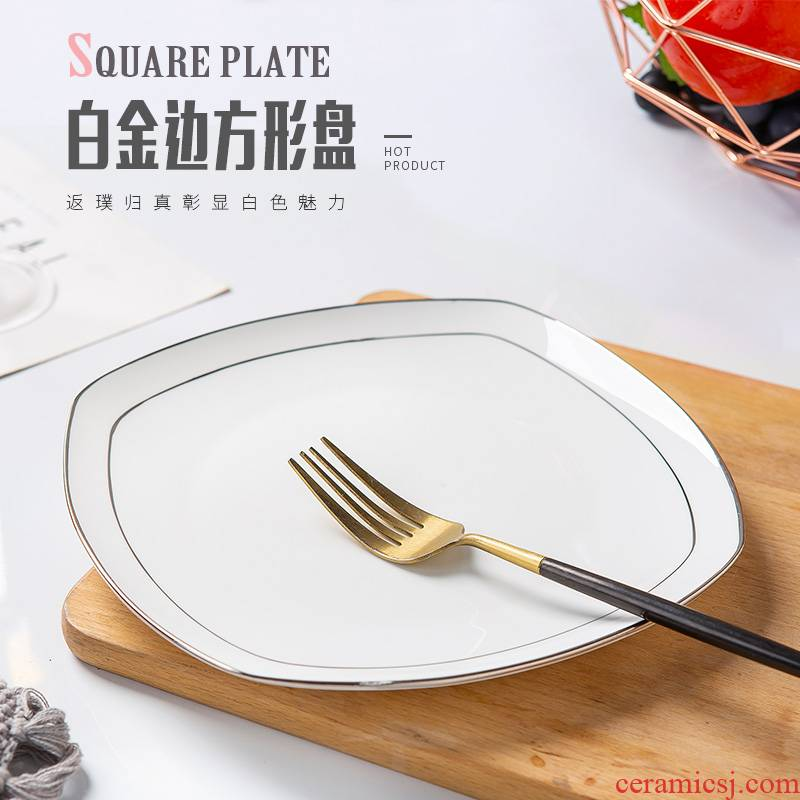Plate light household jingdezhen European key-2 luxury ipads China net red square plates special - shaped ceramic tableware Japanese creative cuisine