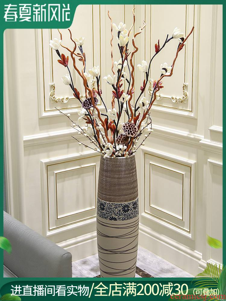 Ceramic flower implement landing place flower arranging European contracted sitting room modern creative home furnishing articles decoration large vase