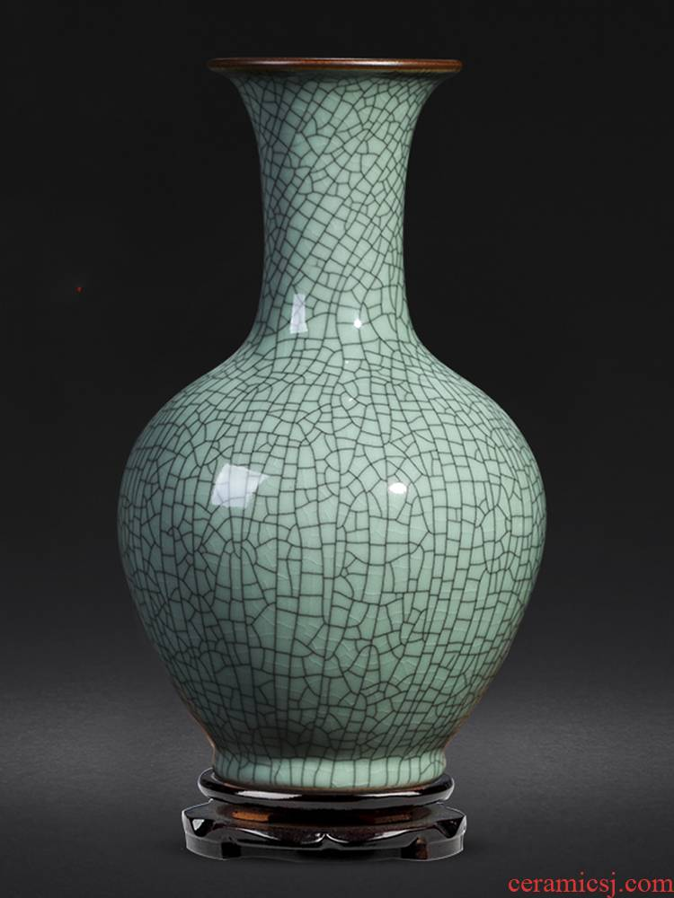 Jingdezhen ceramics vase guanyao Chinese style household furnishing articles flower arranging archaize sitting room TV cabinet decorative arts and crafts