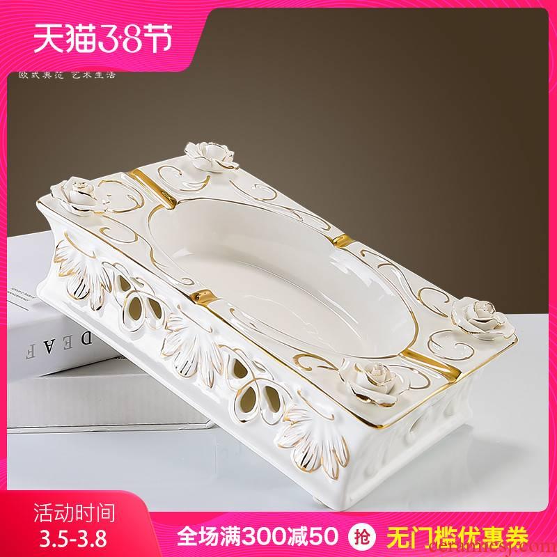 The creative fashion, household ceramic ashtray European large jade porcelain ashtrays, decorative furnishing articles gifts