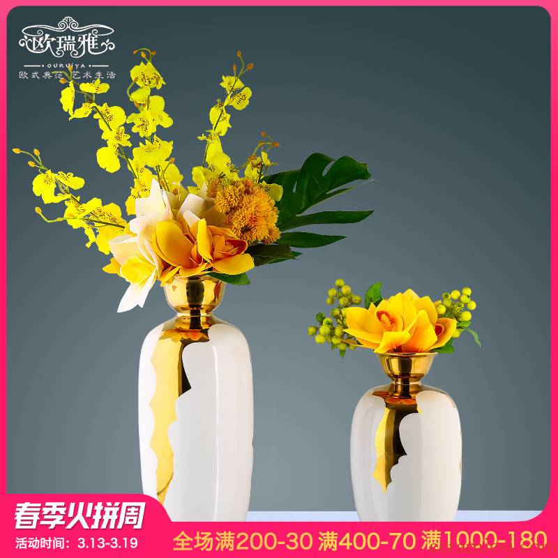 European ceramic vase simulation flower flower key-2 luxury furnishing articles I and contracted sitting room bedroom TV cabinet table flower art