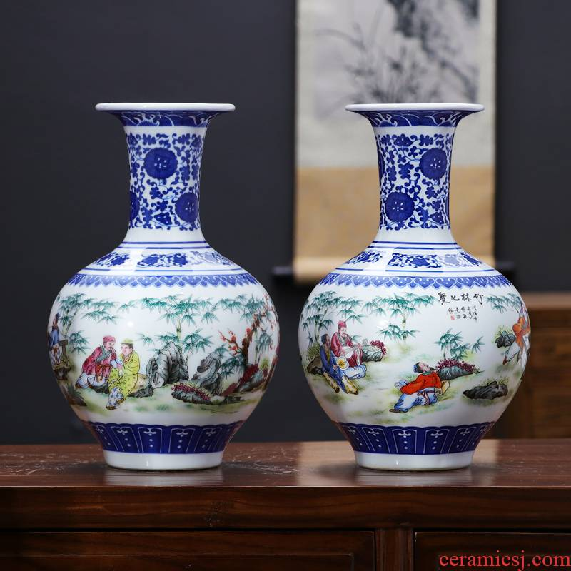 Blue and white porcelain vase furnishing articles dried flower decoration porcelain of jingdezhen ceramics decoration of modern Chinese style household act the role ofing is tasted