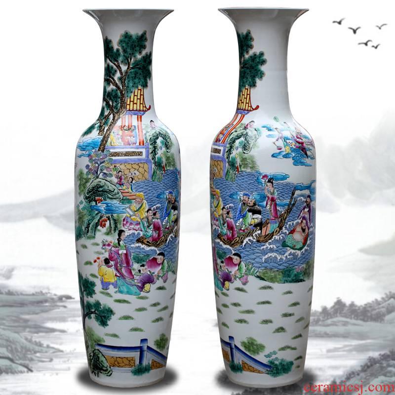 Jingdezhen ceramic vase of large hotels teahouse pastel large sitting room adornment porcelain furnishing articles