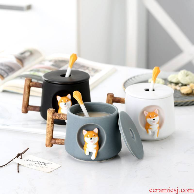 Creative cartoon shiba inu ceramic keller cup couples a home office milk coffee spoon, cup with cover