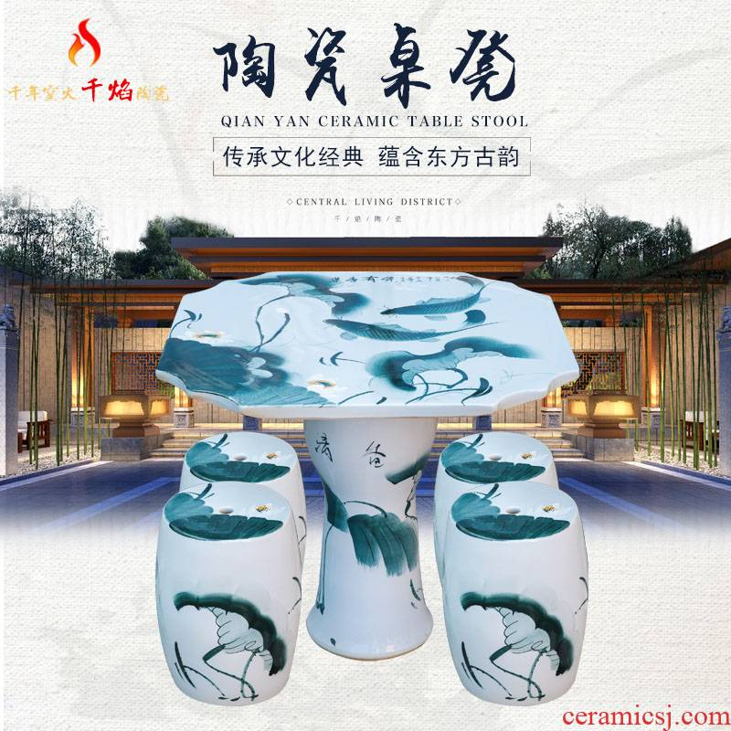 Jingdezhen ceramic table who suit round table antique blue - and - white son is suing patio tables and chairs for years
