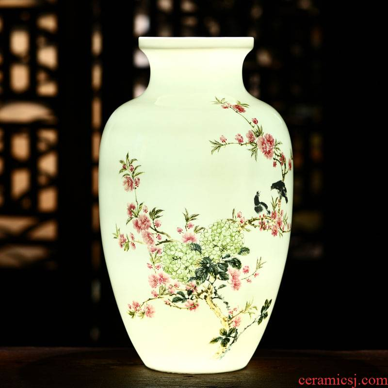 Jingdezhen ceramic hand - made enamel vase sitting room of Chinese style household furnishing articles flower arranging thin body porcelain wine accessories