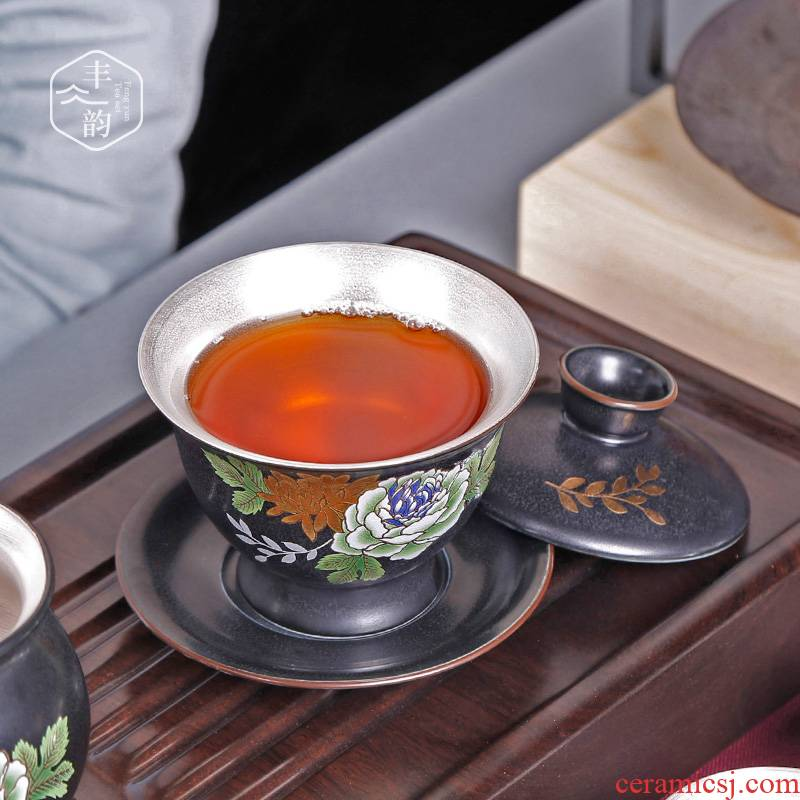 Sterling silver restoring ancient ways is the manual only three tureen tasted silver gilding ceramic cups kung fu tea footed bowl large tea set
