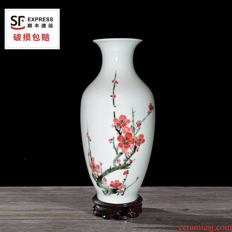 Liling porcelain ceramic glaze furnishing articles MeiKaiWuFu bottle sitting room under pure hand - made home decoration gifts