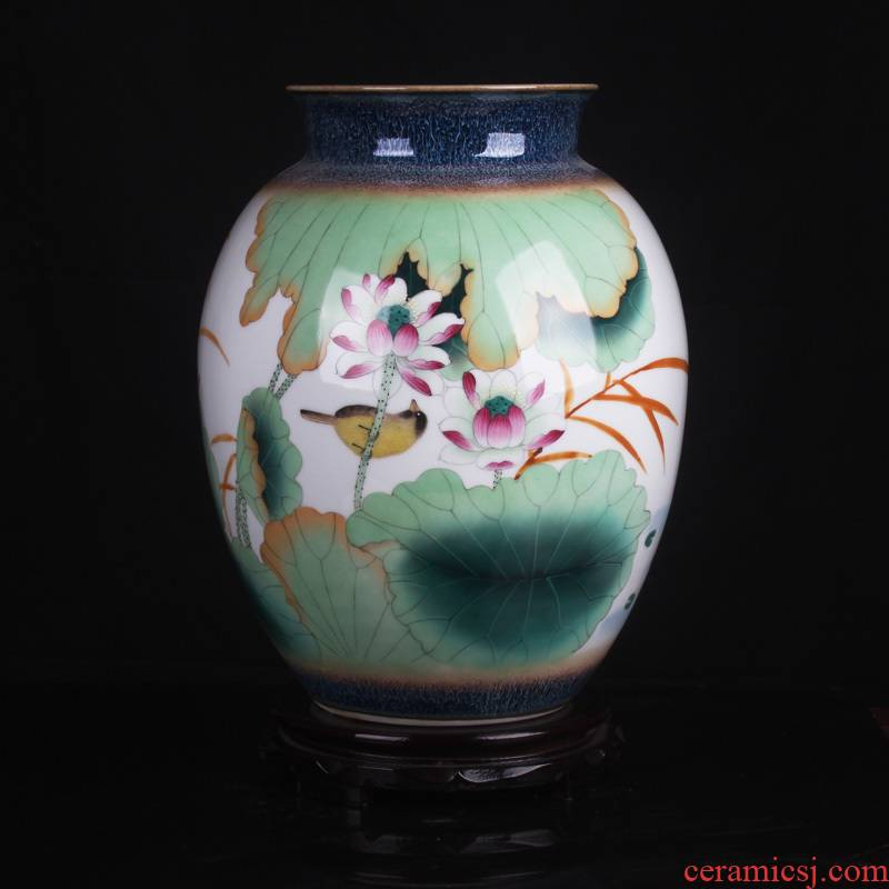 The Master of jingdezhen ceramics from pastel celebrity Han Ping muddy hand draw flowers and birds lotus vase sitting room home furnishing articles