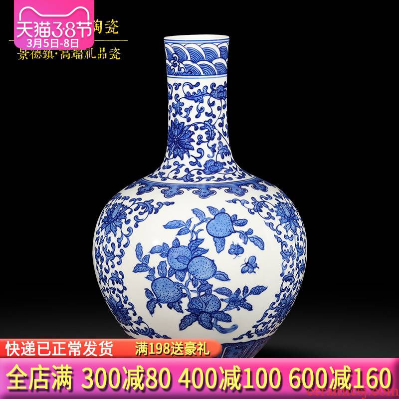 Jingdezhen ceramic vase furnishing articles hand - made antique Chinese blue and white porcelain vase classical household act the role ofing is tasted furnishing articles in the living room