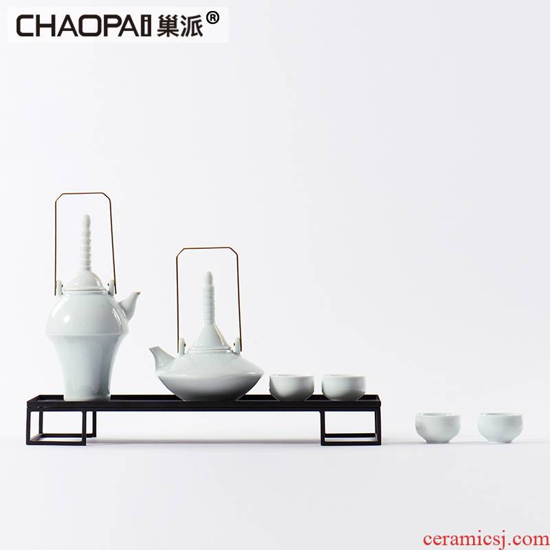New classic ceramic tea set tea table is placed indoor furniture portable teapot teacup example room tea tray was soft decoration