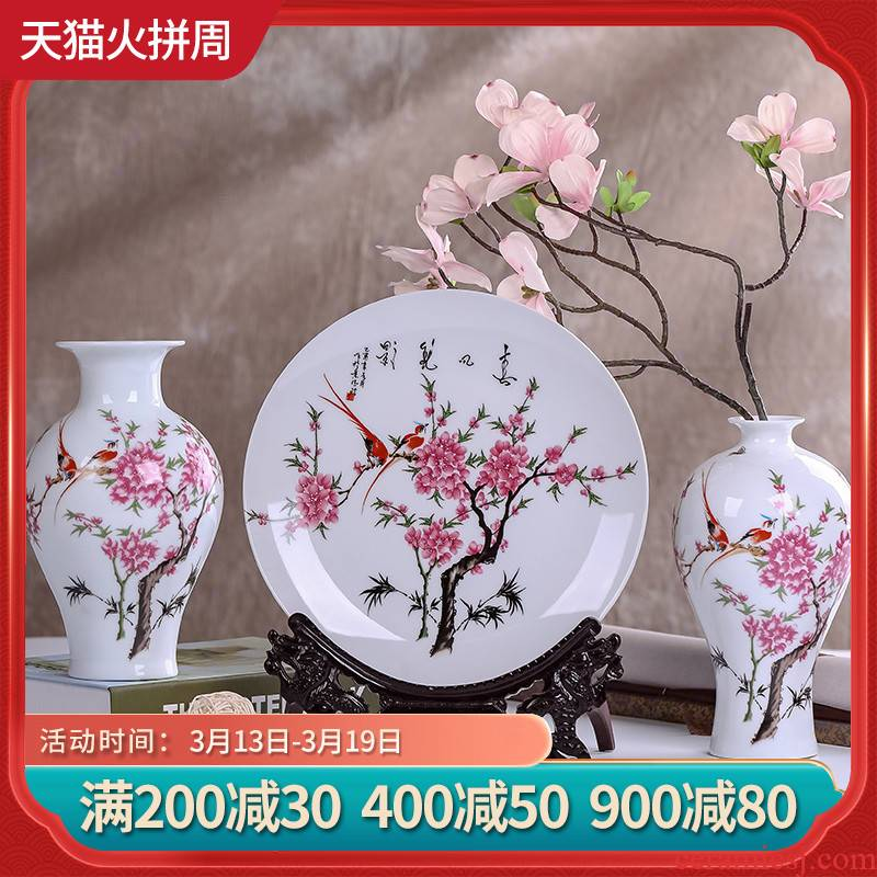 Jingdezhen ceramics modern three - piece floret bottle of flower arrangement, the sitting room of Chinese style household decorations crafts