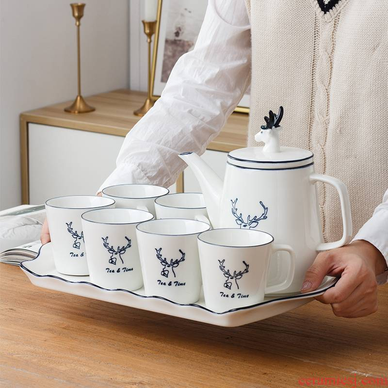 Nordic water with a suit of household living room 6 large capacity cup cup contracted high - grade ceramic tea set Europe type