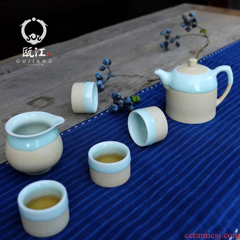 Oujiang longquan celadon tea set manual ceramic kung fu tea set modern fresh tea set a complete set of equipment gift box