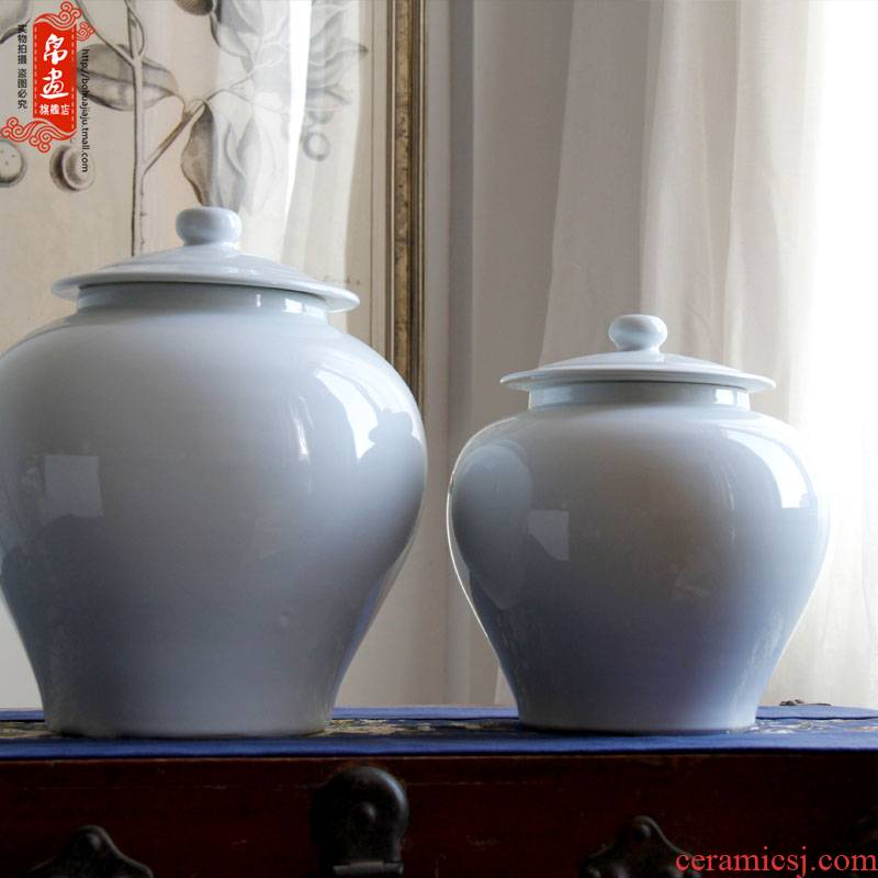 Jingdezhen ceramic vase general furnishing articles white pot sitting room of Chinese style household creative dry flower arranging flowers, soft decoration