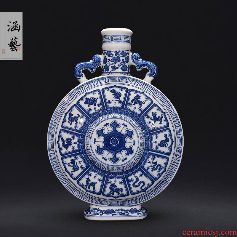 Jingdezhen blue and white Chinese zodiac hand - made ceramic dual ear vase furnishing articles of new Chinese style living room decoration
