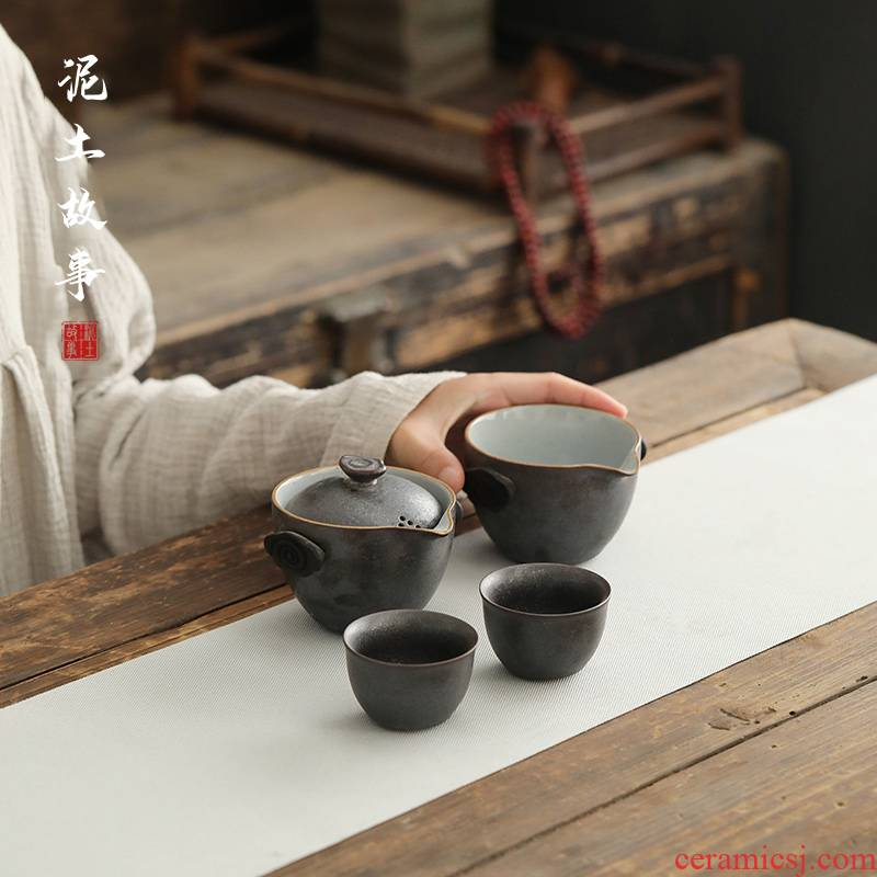 Soil travel story crack glass ceramic kung fu tea set a pot of two cups of tea portable travel