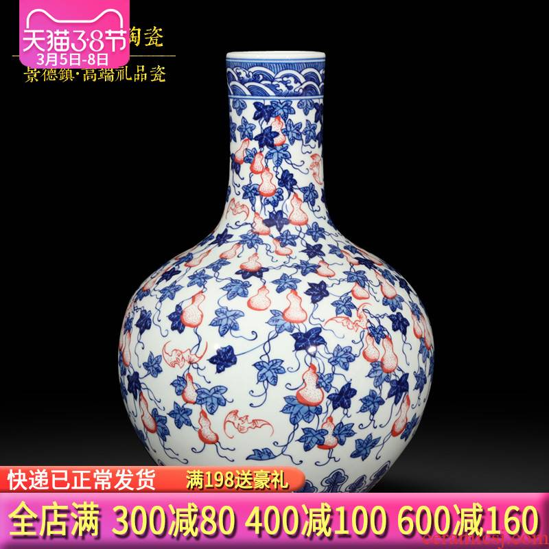 Jingdezhen blue and white porcelain vase, classical Chinese style household furnishing articles rich ancient frame all hand antique collection of ornaments