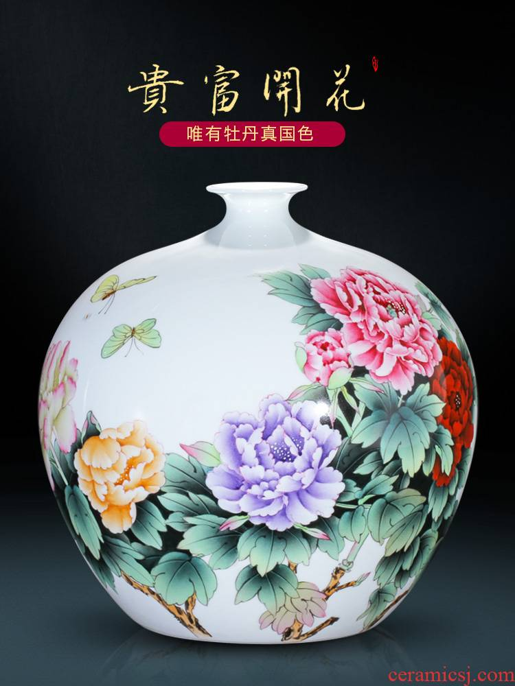 Jingdezhen ceramic master hand made porcelain vase furnishing articles of the new Chinese rich ancient frame sitting room decoration wedding decoration