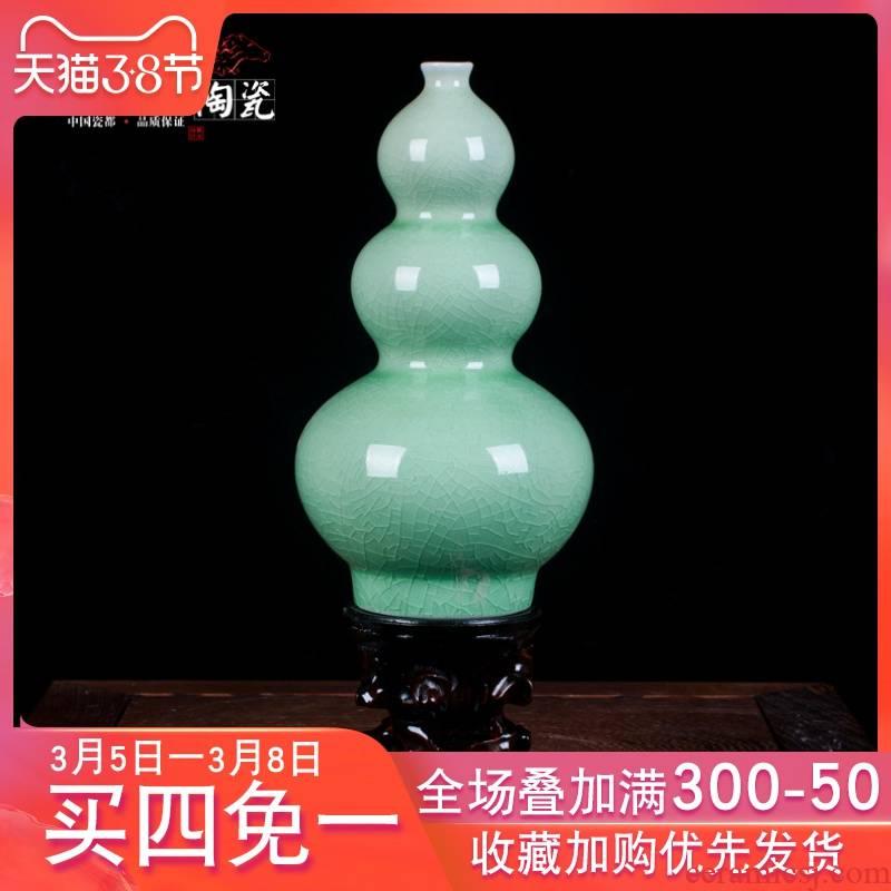 The gourd floret bottle of jun porcelain of jingdezhen ceramics up green jade borneol crack glaze furnishing articles sitting room