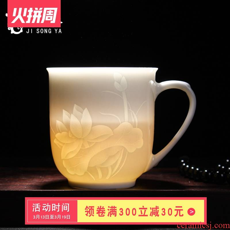 Ceramic cups water glass tea cup cup boss of jingdezhen Ceramic cup brought the gift box with lid