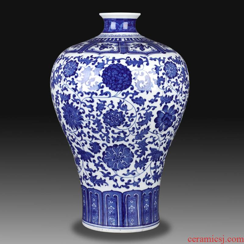 Jingdezhen ceramic phase of archaize sitting room of Chinese style household large blue and white porcelain vase does handicraft mei bottles of TV ark