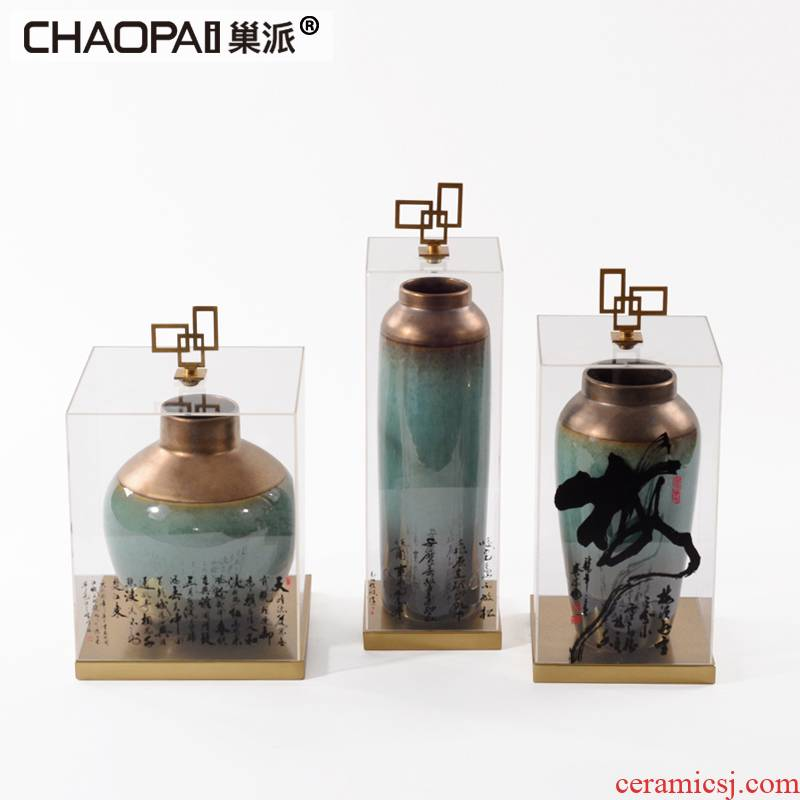 Chinese zen acrylic cover ceramic pot furnishing articles club hotel example room partition displayed soft decoration