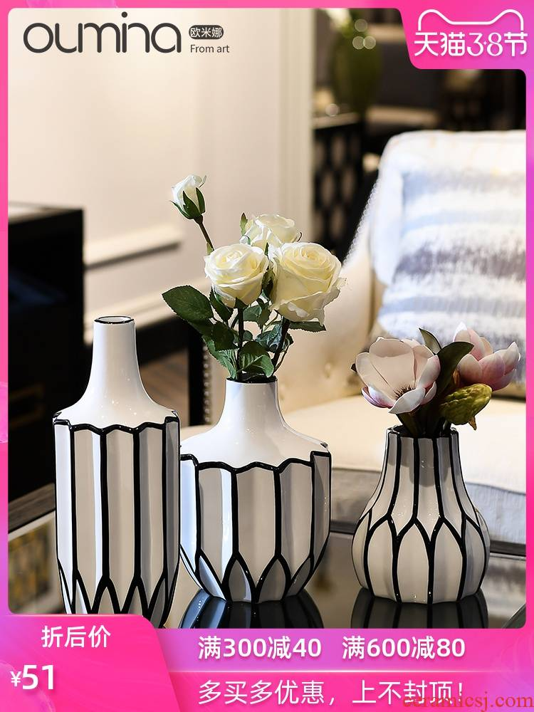 Simple black and white flower implement modern furnishing articles home dried flower arranging flowers adornment ceramics in the sitting room porch decoration ideas