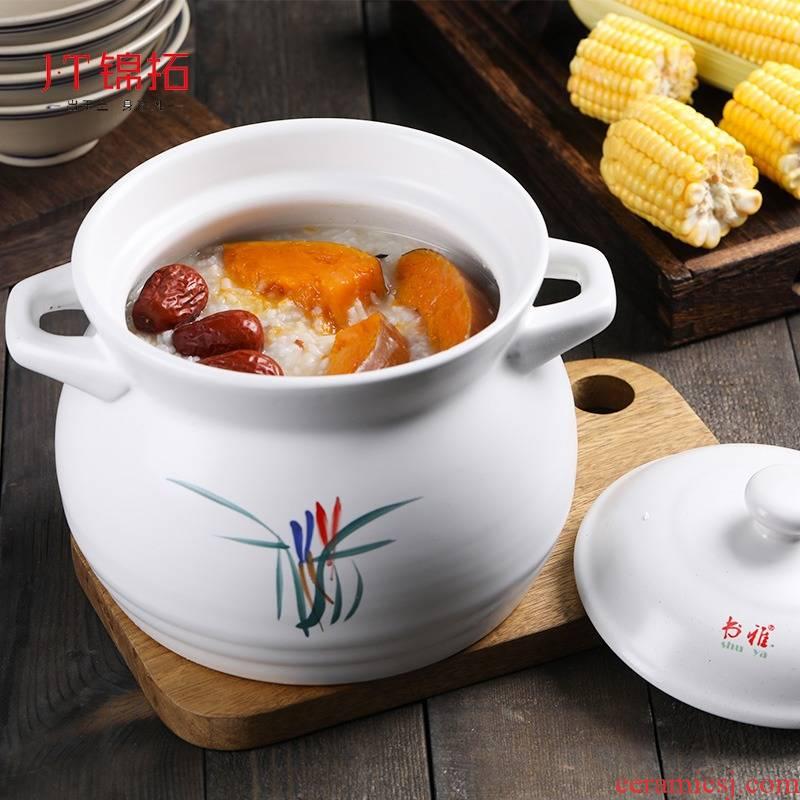 Casserole stew soup pot, high - temperature high - capacity ceramic pot soil pot gas flame cook porridge pot soup tasty Casserole