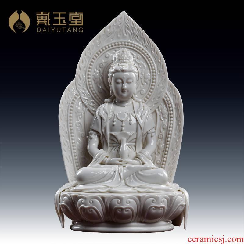 Yutang dai ceramics decoration furnishing articles lotus guanyin Su Du village master manually signed limited/D27-111