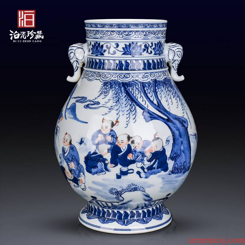 Jingdezhen ceramics sitting room the bedroom TV cabinet table of new Chinese style porch vase dried flower adornment furnishing articles