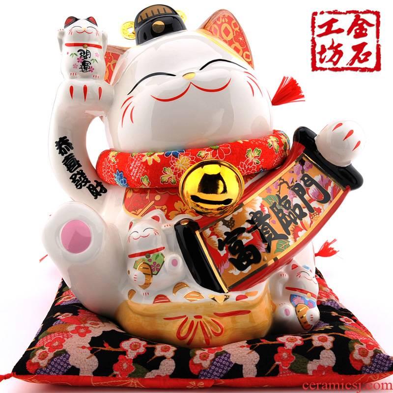 Stone workshop rich rimmon plutus cat furnishing articles opening large ceramic piggy bank