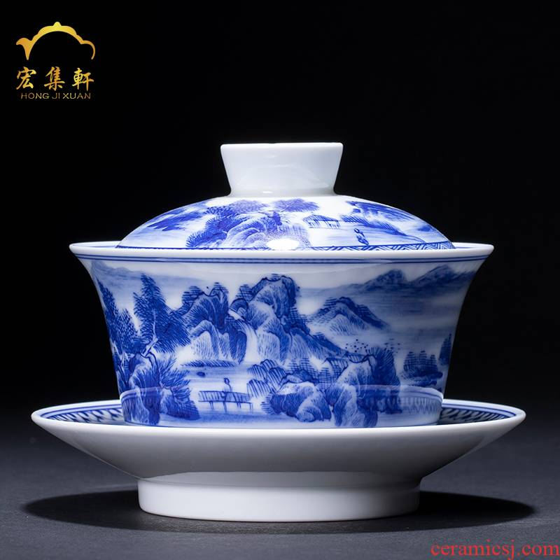 Tureen large cups of jingdezhen blue and white landscape ceramic hand - made only three Tureen tea bowl of kung fu tea set
