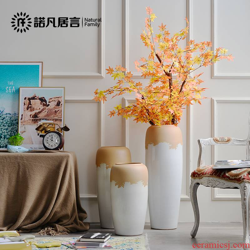 Large ceramic vase landed flower arrangement sitting room hotel furnishing articles European rural dried flowers, contracted and I ins decoration