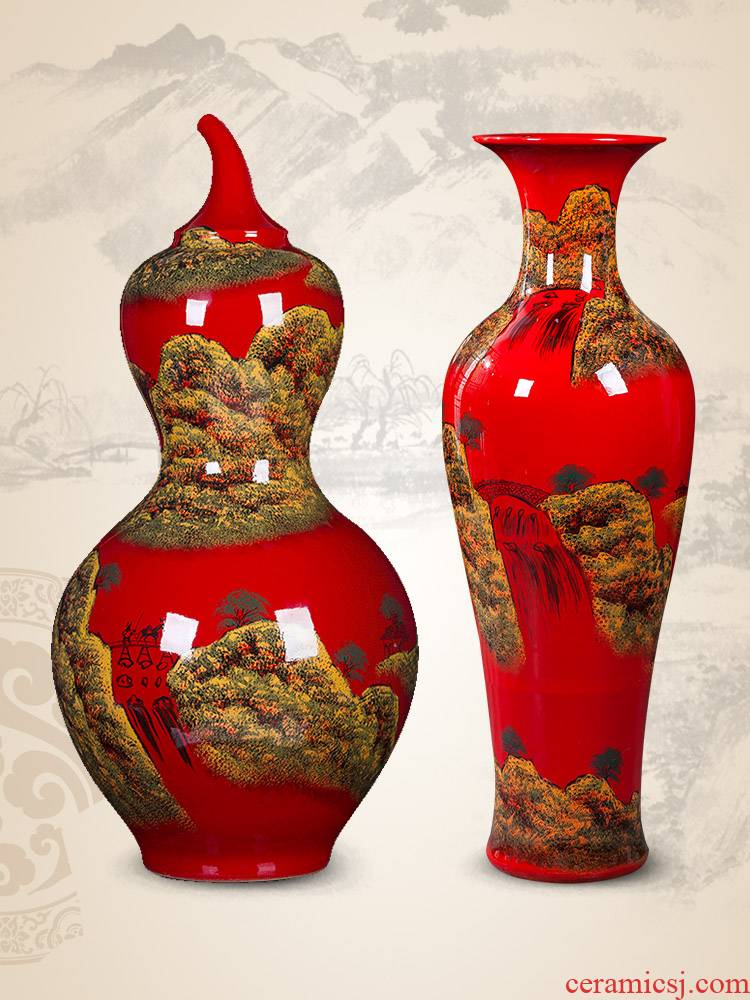 Jingdezhen ceramics China red bottle gourd of large vase sitting room adornment is placed large extra large
