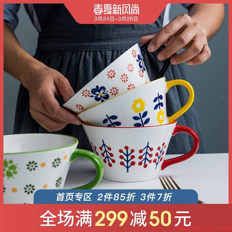 Ceramic handle breakfast bowl of individual students' creative move household express young girl heart dessert rainbow such use large soup bowl