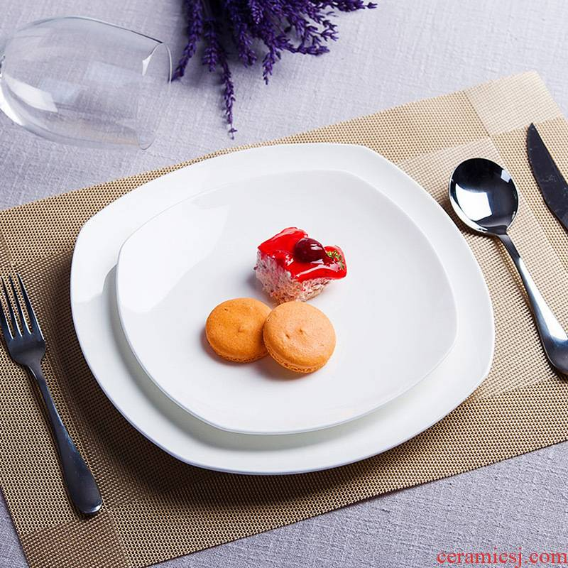 Pure white plate jingdezhen ceramic creative flat beefsteak dish dish cake snacks square plate western - style tableware