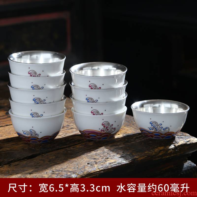 Small white porcelain ceramic cups set 6 pack sample tea cup masters cup kung fu suet jade cup pure white trumpet