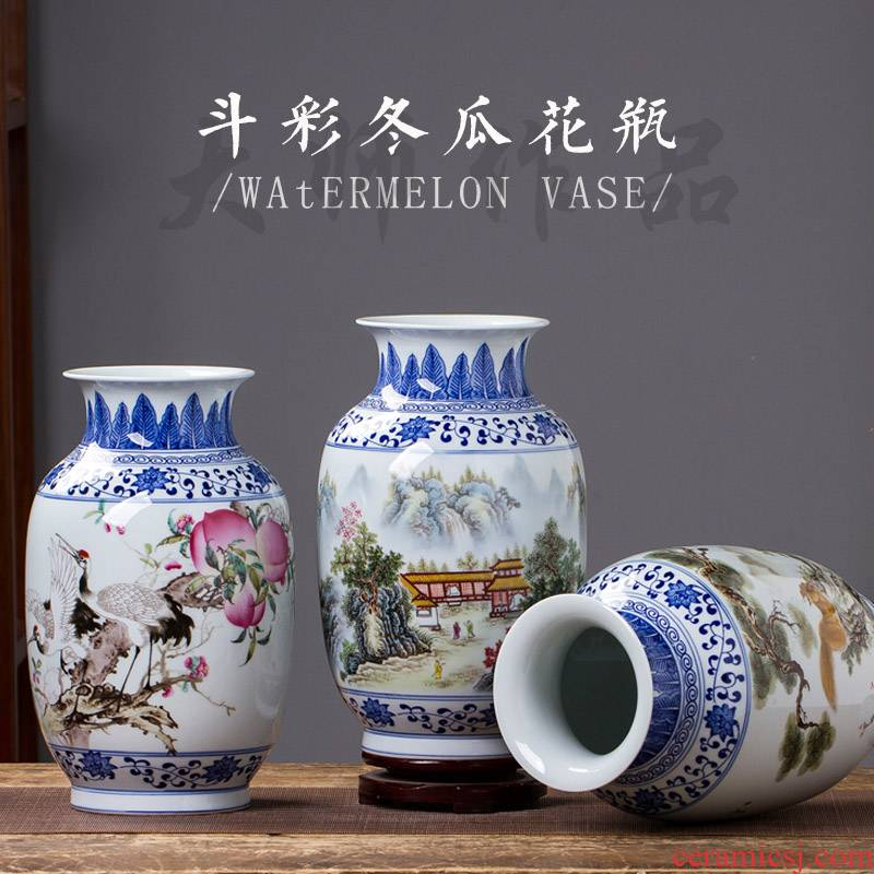 Jingdezhen ceramics bucket color of blue and white porcelain vase flower arranging the new Chinese rich ancient frame sitting room adornment is placed