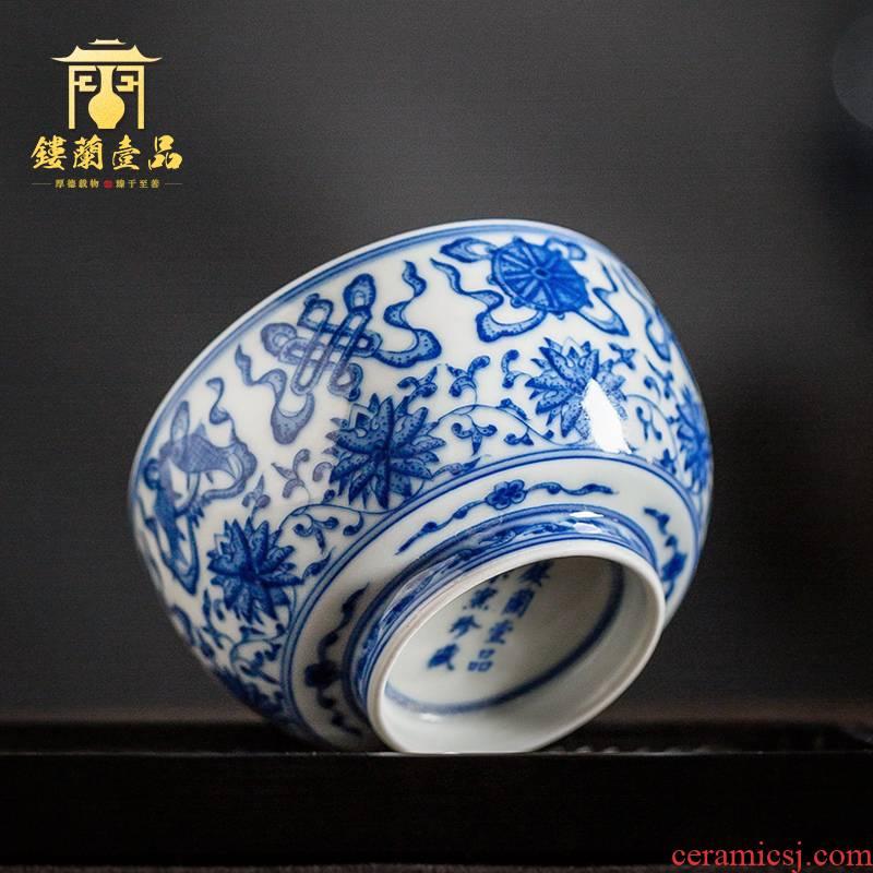 Jingdezhen ceramic hand - made maintain blue sweet grain size and single CPU kung fu masters cup tea tea cups