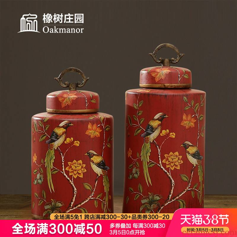 European candy jar storage tank with cover ceramic pot home furnishing articles American decorative as cans accessories of new Chinese style restoring ancient ways
