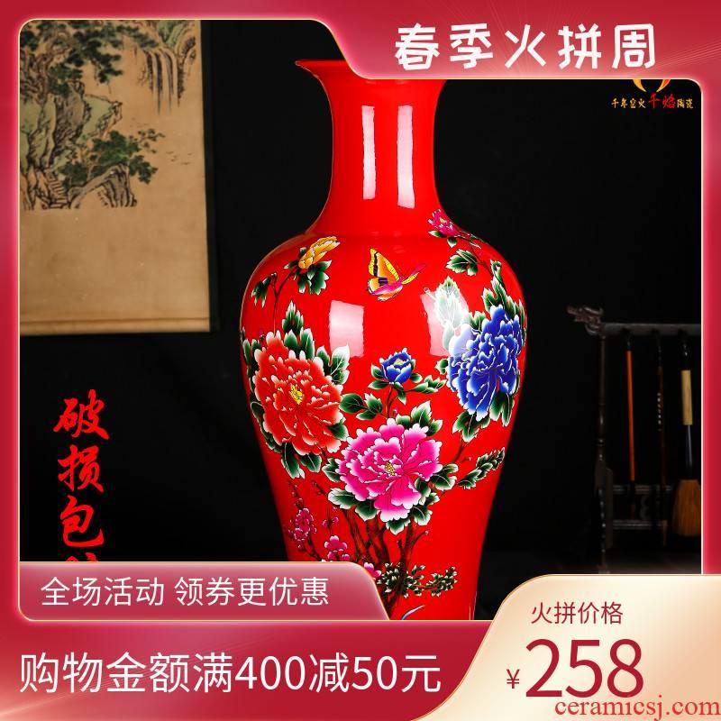 Jingdezhen ceramics vase of red flowers prosperous new Chinese style household design large living room TV ark, furnishing articles