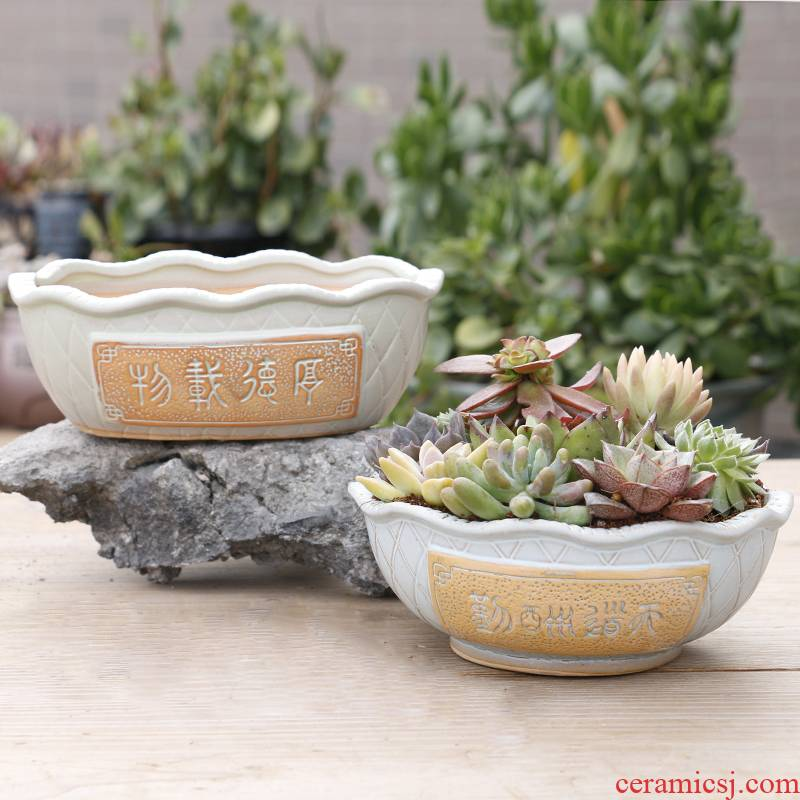 Large fleshy contracted Large caliber flowerpot coarse pottery flowerpot ceramics meaty plant appetizer combination with special offer a clearance