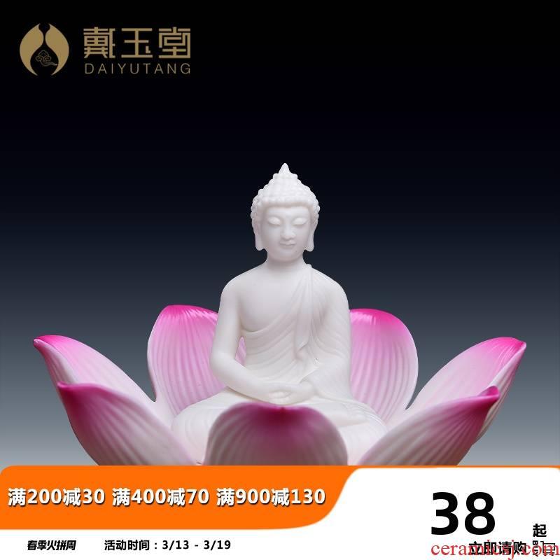 Yutang dai ceramic Buddha before flower lotus lotus pedestal stupas mini figure of Buddha temple decoration articles furnishing articles